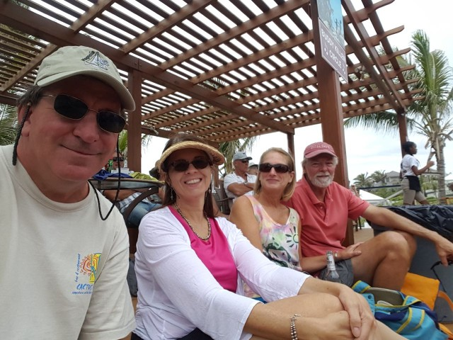 Anthony & Annette (Magnolia) with us at the Abaco Inn Farewell Jam (thanks to Anthony for the group selfie.)