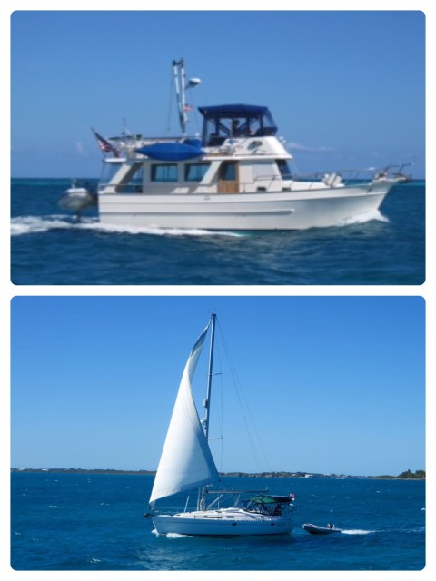 An easy ride back to Hope Town and look who we pass, on their way back from Great Guana Cay and Marsh Harbor - our buddies, Cutting Class.