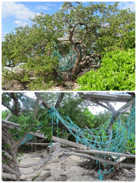 As we walked along the shore we stumbled upon this multi-level little hideaway created from flotsam and jetsam.