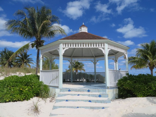 A gazebo is on the path over to the beach.