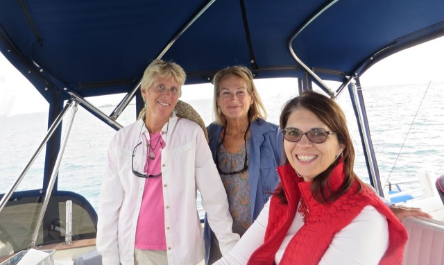 Ladies on the bridge, steering and navigating. Al handed the wheel over to Annette who did a very fine job as captain. Her first time handling a trawler.
