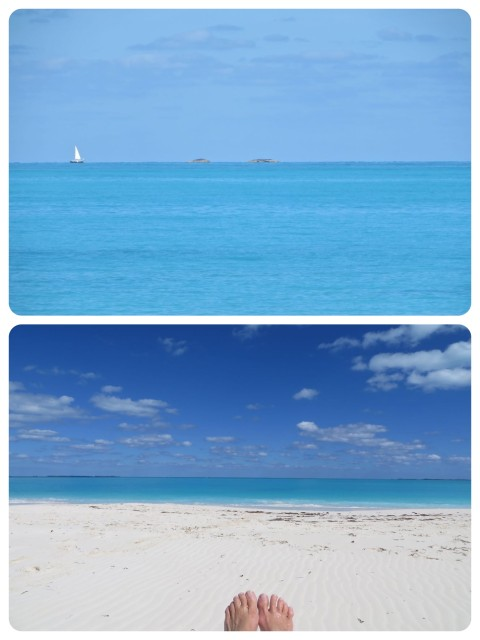 Ahhhh, looking out a sailboat passing by in the distance. Sunny skies, blue water, white sand. The Bahamas, mon.