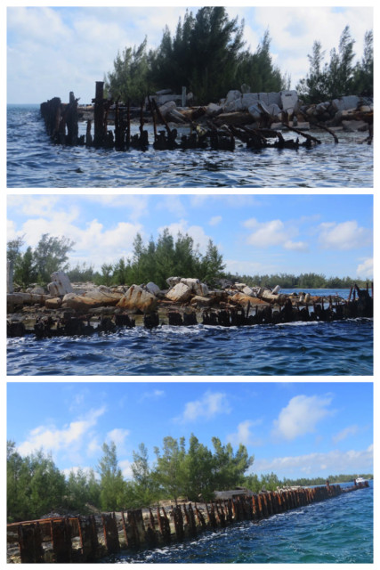 After anchoring Kindred Spirit and Navigator, we dinghied around the end of Snake Cay. The abandoned quay has left an industrial style wound on the land.