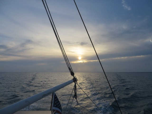 Leaving Crab Cay in the early morning