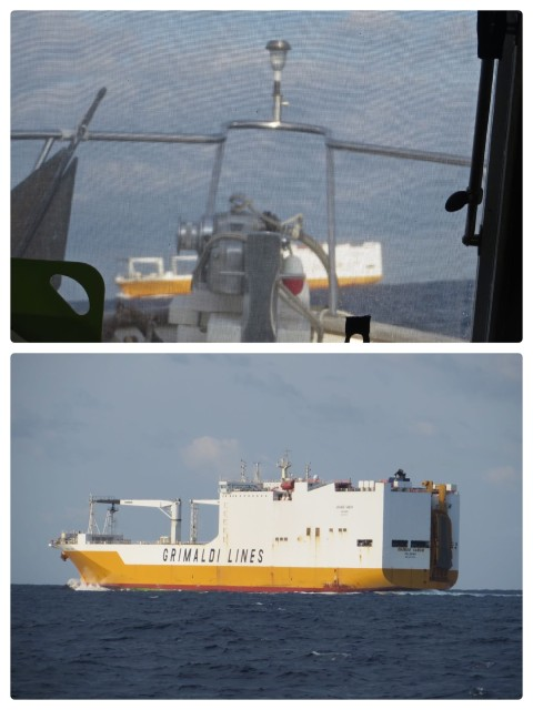 cargo ship Grande Gabon – We spoke with this cargo ship on the VHF because our paths were going to cross. We informed the ship that we would pass behind them. We don't mess with boats that big. No way.