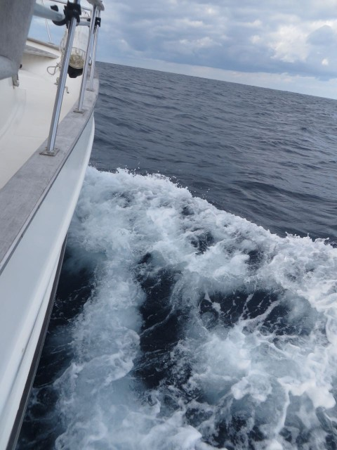 Chugging away. Funny how photos just don't capture what it really looked like and felt like. On the other hand, we weren't afraid, nothing broke, and the autopilot worked like a charm. We were moving along very swiftly, averaging 8 knots.