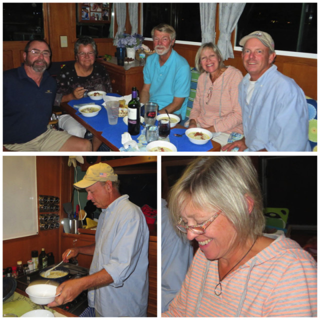 "Feb 18th - Carpenters dinner on our boat, but John cooked. This was a really good deal for me. I invited Carol and John to our boat for dinner, but he wanted to make Caribbean lobster chowder. OMG – soo delicious! We also invited Joe and Paula as part of John's ""core"" building crew. Paula baked corn bread in a cast iron frying pan that complimented the chowder perfectly."