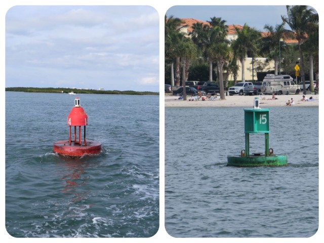 You know you are back in the U.S. when you see such sophisticated channel markers, red nun on port, green can on starboard. We must be in Florida.