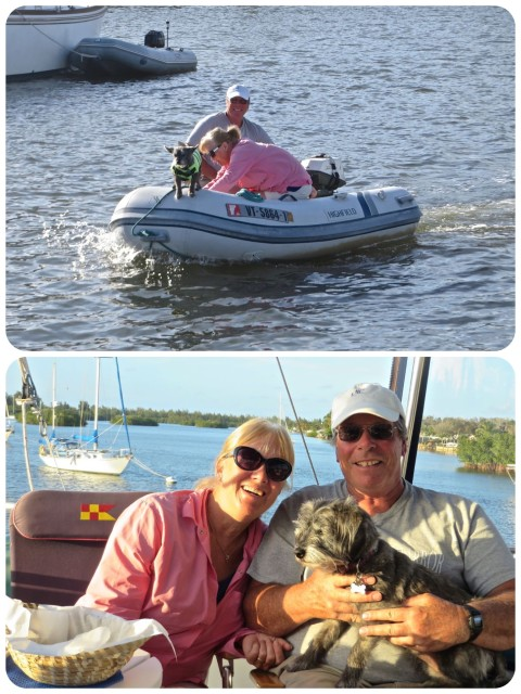 Whit Joan, and Gracie dinghy over for a happy hour on Kindred Spirit. Lots of catching up to do!