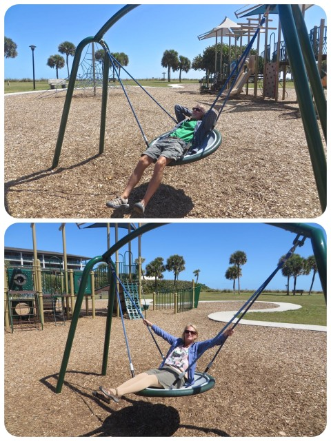 Playing at Humiston Park in Vero Beach -- Who says you can't be a swinger at Vero Beach?