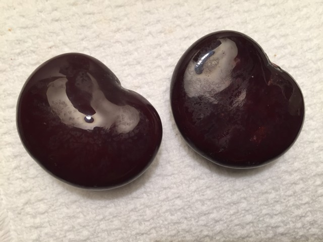 Two of the beans with a high sheen after Al finished polishing.