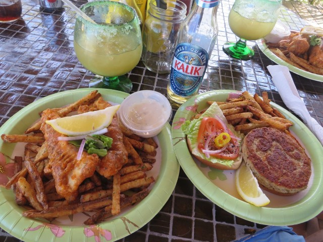 "Lubbers Landing is known for its tuna burger (on the right) and the fish and chips. Both were delicious. Their famous ""saltwater marguerite was the best ever!"