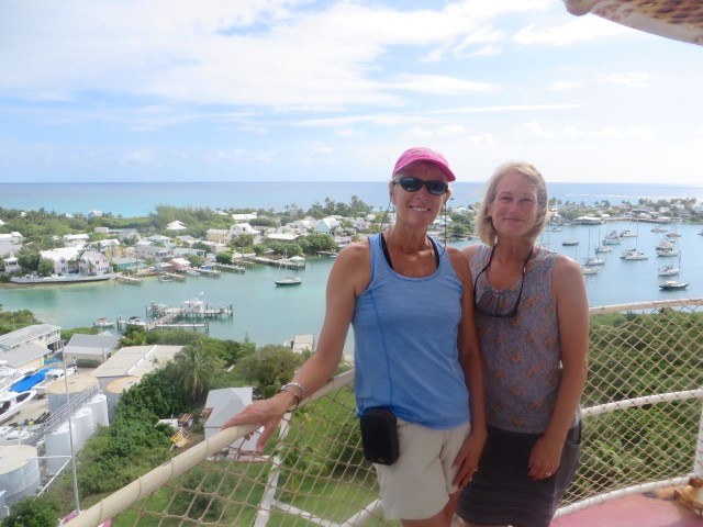 Marcia and me at the top of the Candy-Striped lighthouse, Bahamas buddies (and Connecticut, too.)