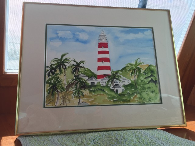 My watercolor painting of the Elbow Reef Lighthouse by Anne W. Ray, 1995 who lived on Lubbers Quarters.