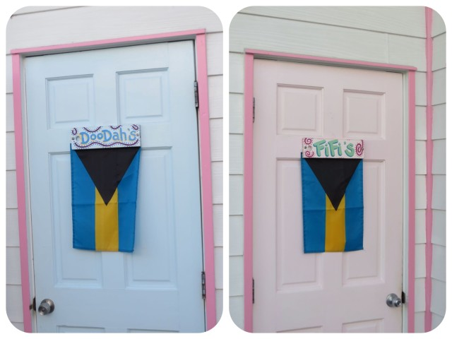 Just had to take a picture of Captain Jacks' restroom doors, which are outside. FiFi's and Doodad's