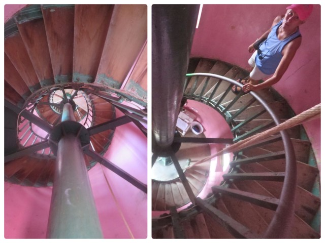 On the left is a photo looking up the stairs; on the right is Marcia on her way down the stairs. 89 feet high, 101 steps to the lantern room.