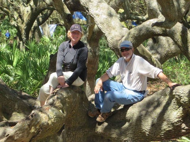 We convinced Cheryl and Dudley to have their picture taken in this tree, just as we had in 2013.