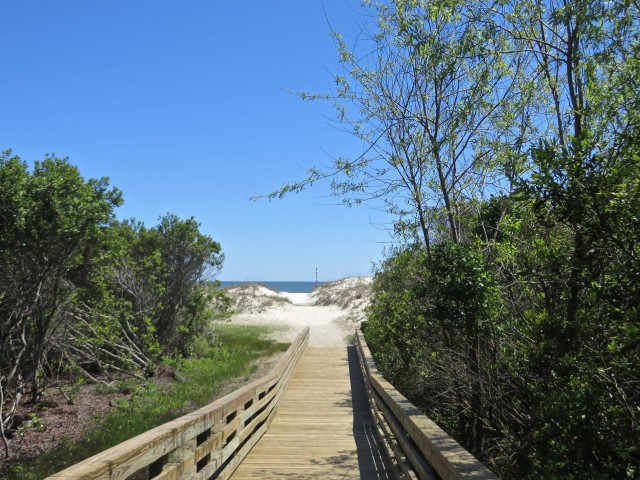 The walkway over tot he beach.