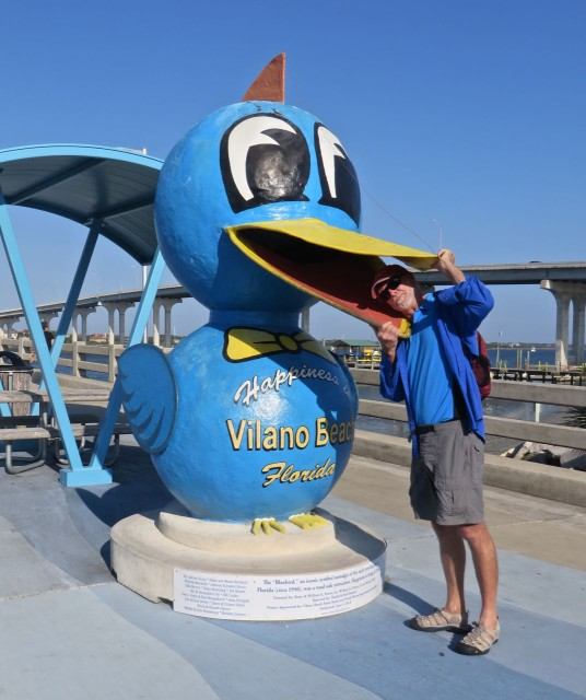 "This funky winged statue is known as the ""bluebird of happiness"" in Villano Beach"