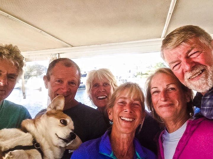 John holding Zoe, Dan, Marcia, Debra, Me. and Al - group selfie thanks to Al's long arm.