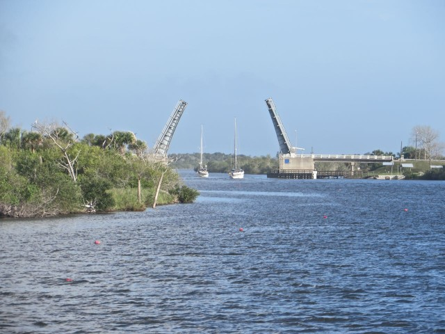 Ironically, our timing was such that we reached two of the bridges while it was opening for taller boats.