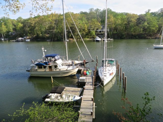 Kindred Spirit and Cutting Class are snuggled in with Eleanor Q at her dock.