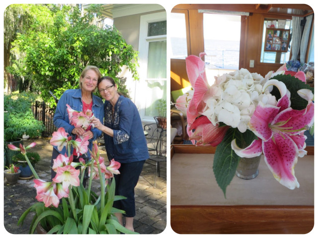 Lynn cut flowers from her lovely lilies for me to take back to the boat. The bouquet added such a touch of cheer to our little salon.