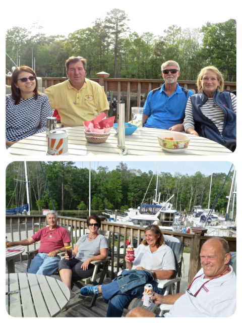 "Annette & Anthony with us in the top photo. Jim and Joey on ""My Pleasure"", and Laurie and Artie on ""My Leap of Faith"" in the bottom photo."