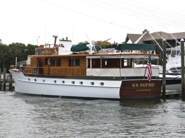 As we turned out of Motts Channel , we saw SS Sophie docked just before the Wrightsville Beach Bridge.
