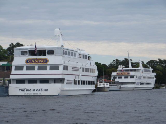 Big casino boats at dock near the Calabash River.