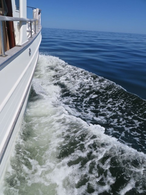 Kindred Spirit moving nicely along offshore. We enjoyed seeing the bluer and brighter water out here after days of the ICW's murky greenish brown water.
