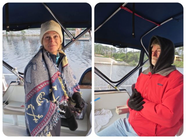This was the first time our northbound voyage that we pulled out the heavy duty cold weather gear - hats, gloves, blanket. Not our best fashion statement, even for cruisers.