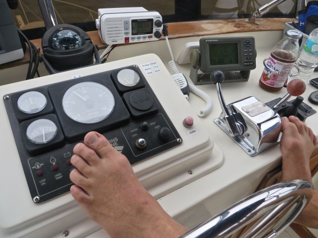 "When we are on a straight path, the autopilot is usually steering the boat while we monitor and make adjustments. Al like to rest his feet on the helm, and because the autopilot is hydraulic, the steering wheel does not turn. Notice the shiny button to the right of his left foot?? That is the ""STOP"" button which will turn the engine off from the flybridge, something we have never done. It is spring-loaded and evidently Al's foot touched it enough to begin the shutdown. Al quickly jumped up and slowed the speed down which is why the engine never fully quit. Good lesson with no painful consequences. Has he stopped resting his feet there? NOoooooo. Just more careful."