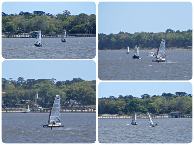 Coming around the tip of Charleston by Battery Park, we saw these very fast little sailboats that get up above the water's surface and speed!