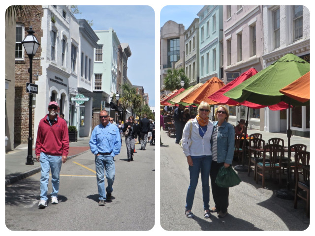 Guys and gals, aimlessly wandering down King Street in Charleston.