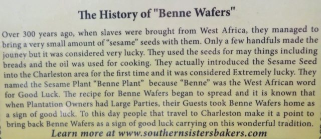 The history of benne wafers (from a package).