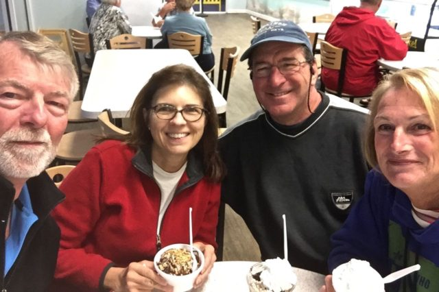 Anthony and Al live for and thrive on their ice cream. Annette and I just go along... (not! We love it, too.)