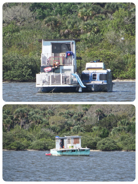 These two boats looked like they might be on the path to abandonment, but a closer look showed two dummies on the top boat and an apparently live guy not eh bottom.