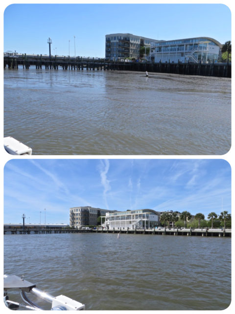 Looking from our aft deck to the shore. The top photo was taken at low tide - the buoy is in visible sitting in the mud. The bottom photo was taken at high tide - water all the way up.