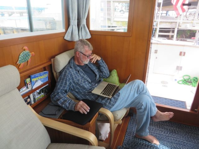 Captain AL uses our quiet time in Hampton to catchup on checking and modifying routes for the days ahead.