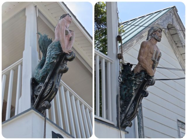The upper porch of Poor Man's Hole has matching his and her figureheads. Wouldn't that look nice on our house in Connecticut?