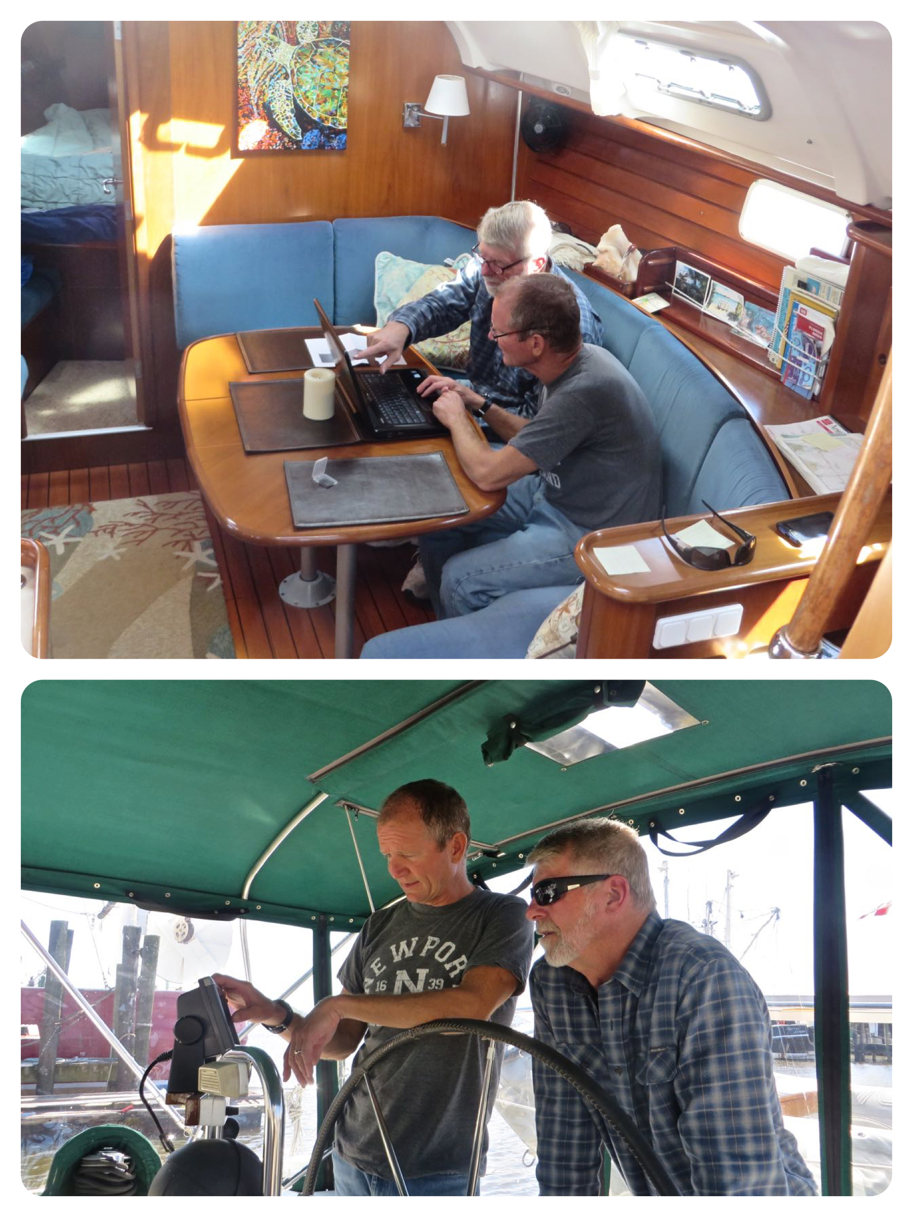 The Captains of Cutting Class and Kindred Spirit had time to problem solve a Garmin chart plotter issue. Problem solving - two heads are better than one. Problem solved successfully!