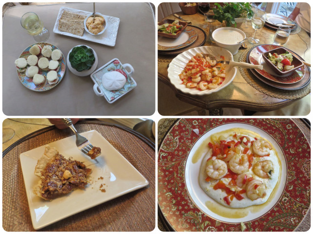 Southern meal – (From upper left, clockwise) Appetizers – tomato sandwiches, pimento cheese spread. Dinner – shrimp and grits with salad, finished with a dessert of pecan pie. Simply delicious!