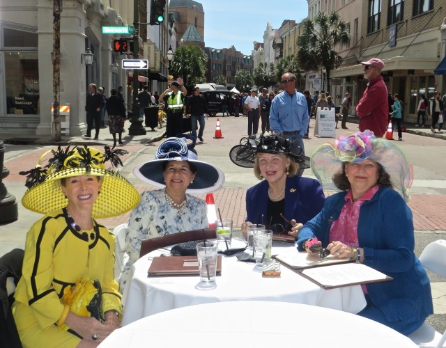 Dan and Al (n the background) are patiently waiting while Marcia and I asked if we could take this picture -- Southern ladies with style! Wouldn't that be such fun to do with a few girlfriends??? But where can we find hats like that in New England??