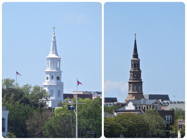 Two of the steeples of Charleston are visible from the water.