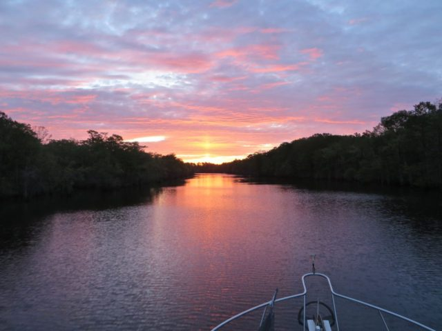 The Waccamaw River's colors swiftly changed from dusky gray-blue to a rosy glow.