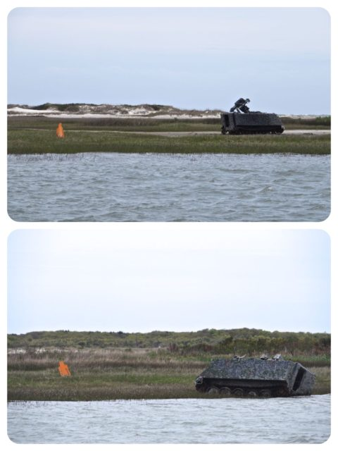 Traveling through the Camp Lejeune section, we recalled the helicopters and military drills in the ICW during our first southern passage in 2013. This time we only saw tanks and orange cut-out men on the eastern side of ICW. Target practice??