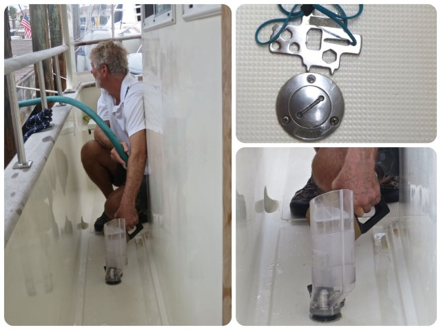 """Tools for Fueling – Al tried out his new fueling gizmo . Upper right is the """"key"""" for the deck holes, - fuel, water, and pump out. You NEVER want to mix up those holes!"""