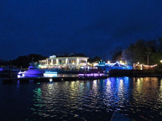 At night, the Chesapeake Inn Marina lights up like a circus.