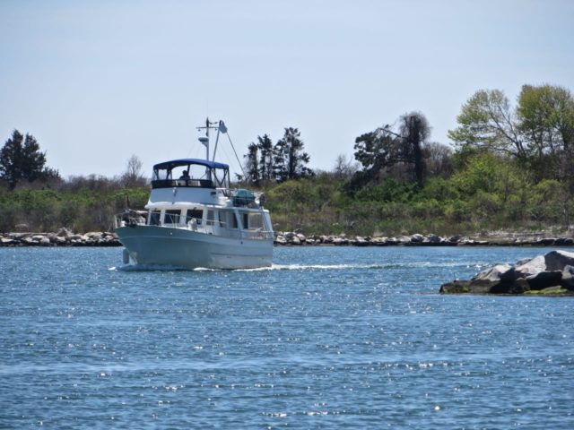 Kindred Spirit coming around the breakwater into Shennecosett Yacht Club.